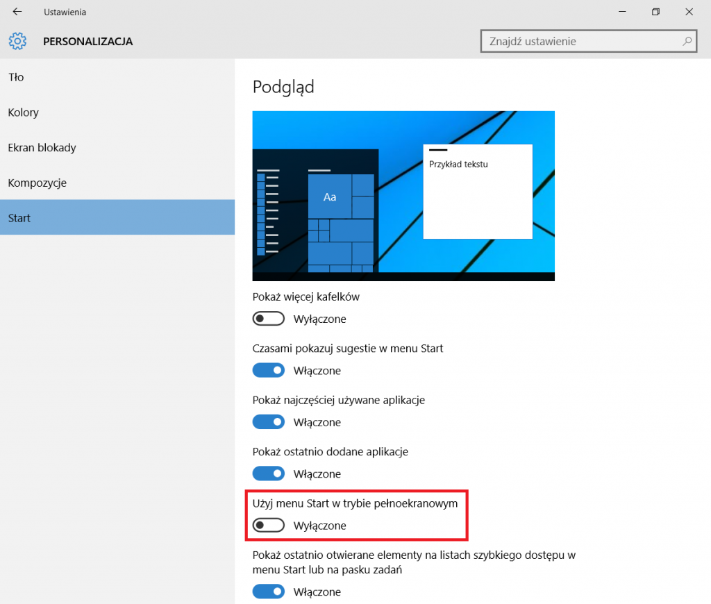 Windows 10 - menu start jak w Windows 8