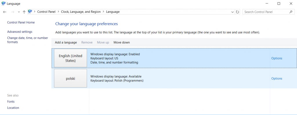 Windows 10 - change the system language