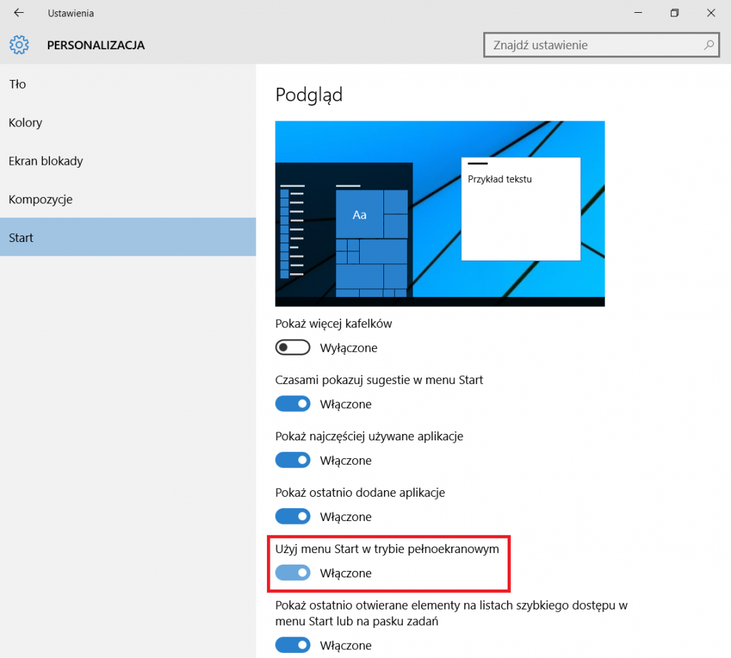 Windows 10 - menu start like in Windows 8