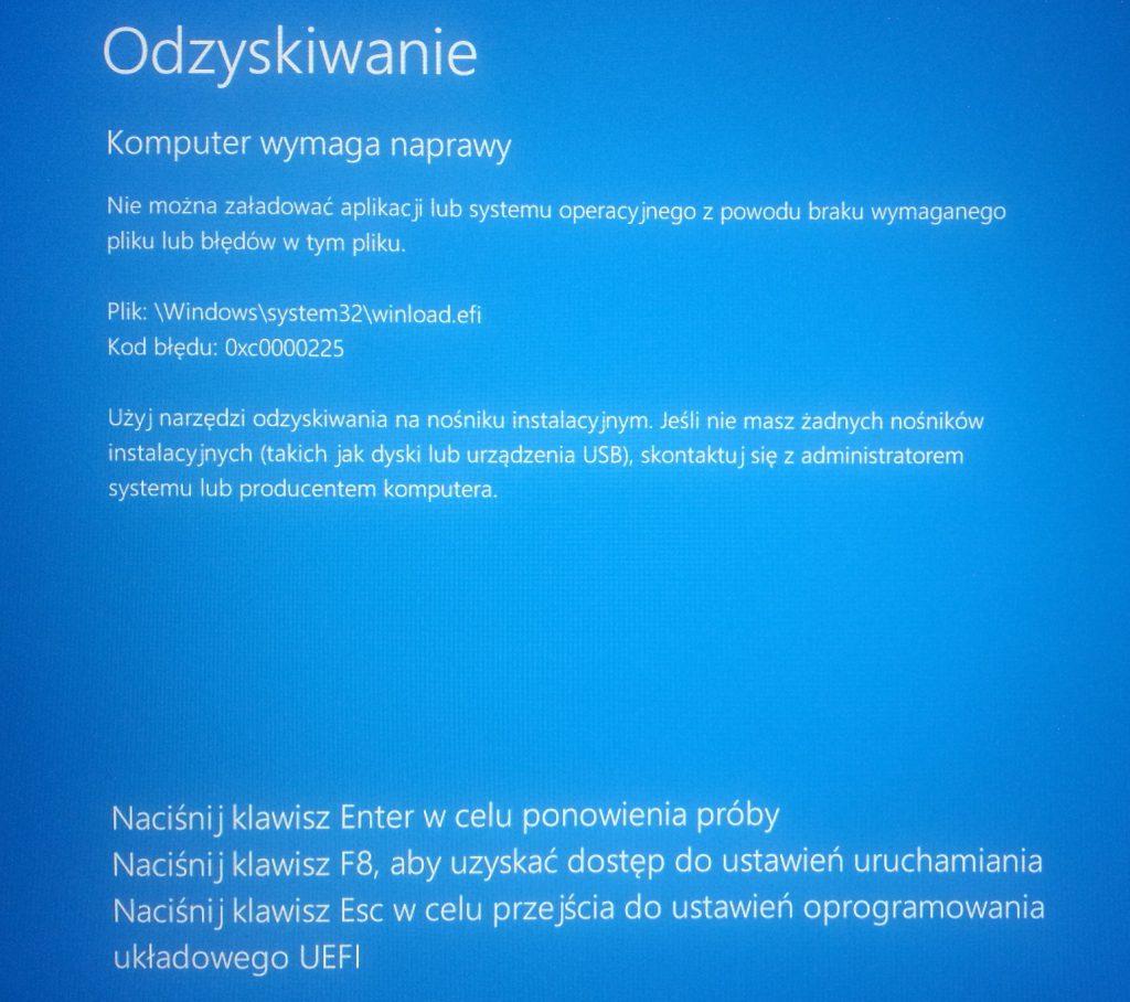 Błąd Windows: 0xc0000225