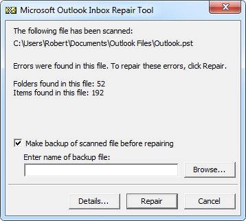 How to fix Outlook mail folder - scanpst.exe